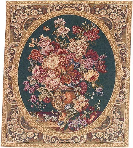 Floral Composition green tapestry - Italian wallhanging tapestries