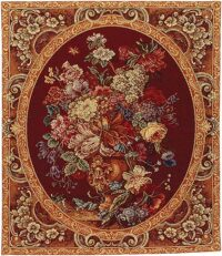 Floral Composition red tapestry - Italian wall tapestries