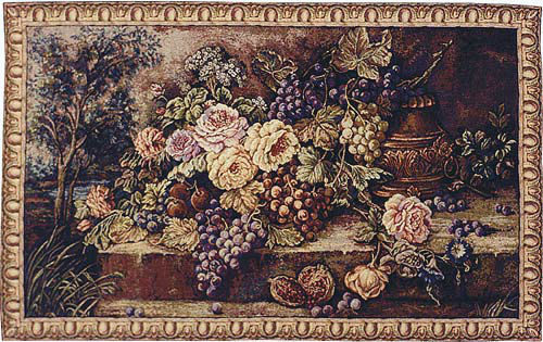 Bouquet with Grapes - Italian wall tapestry - flowers