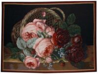 Silk Basket of Flowers - wall tapestry woven in France