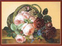 Silk Basket of Flowers tapestry - silk tapestries