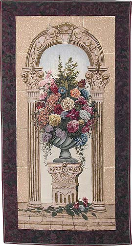 Floral in Arch tapestry - Belgian tapestry wallhanging