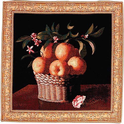 Orange Basket tapestry - French wall tapestry