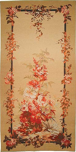 Cream Floral Portiere - Aubusson tapestry