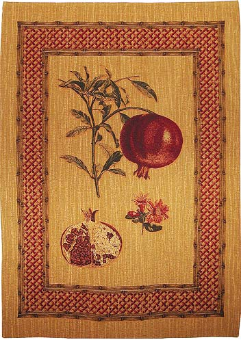 Pomegranate Study wallhanging - Belgian chenille wall hanging