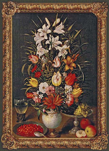 Large Flowers in a Vase tapestry - Breughel art tapestries