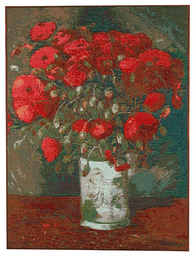 Van Gogh Vase with Red Poppies - French wall tapestry