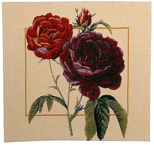 Papaver square tapestry - Redoute floral art