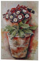 Primula tapestry - contemporary floral tapestry
