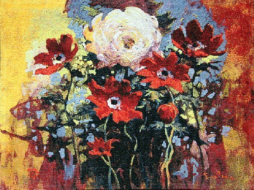 Simon Bull Bouquet Tapestry - Belgian tapestry
