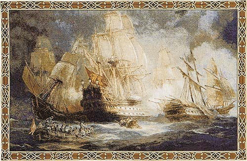 Naval Battle tapestry - Italian tapestry wallhanging
