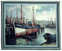 North Sea Harbour tapestry - fishing boats