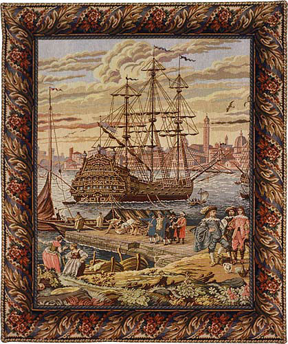 The Galleon at Venice - Italian tapestry wallhanging