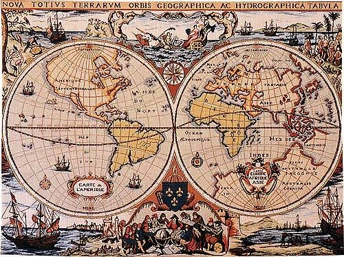 World Map wall tapestry - 17th century Dutch nautical map