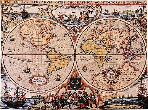 World Map Wall Tapestry 17th Century Dutch Nautical Map