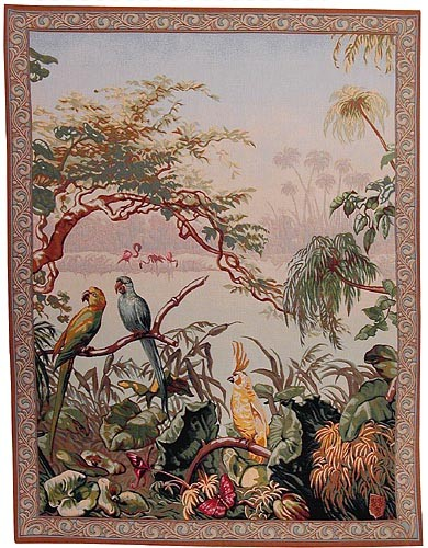 Exotic Birds tapestry - French tapestry wall-hanging