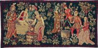 The Vintage small tapestry - medieval grapes harvest