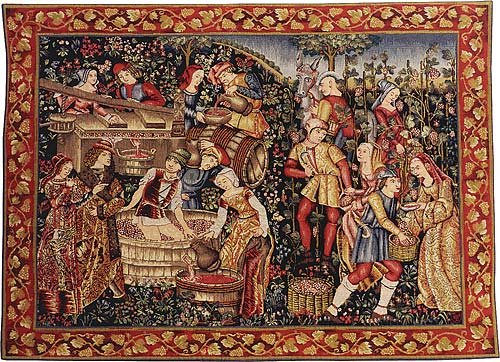 Les Vendanges Tapestry French Grape Harvest Wall Hanging