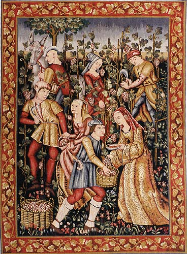 Les Vendanges Grapes Harvest - 15th century tapestry