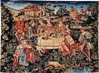 The Banquet - French medieval tapestry