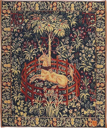 Captive Unicorn wall tapestry - medieval French tapestries