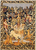 Unicorn at the Fountain tapestry - Hunt of the Unicorn tapestries