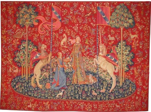 Taste tapestry - medieval Lady with the Unicorn tapestries