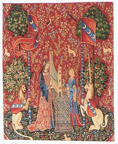 Hearing tapestry wallhanging - Lady and the Unicorn tapestries