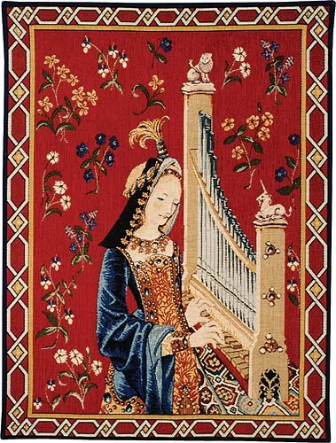 Hearing tapestry wall-hanging - Lady with the Unicorn tapestries