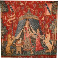 A Mon Seul Desir square tapestry - Lady and the Unicorn