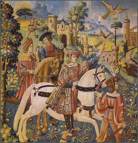 Departure for the Hunt - medieval falconry tapestries