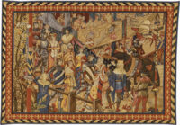 15th Century Tournament tapestry - medieval knights jousting