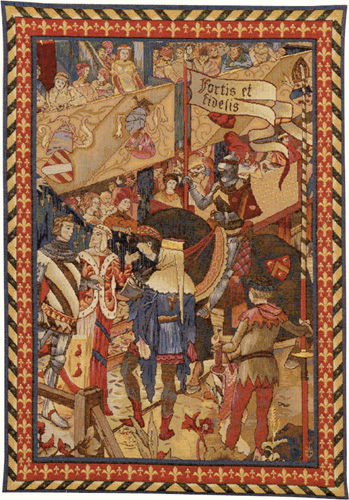 Fortis et Fidelis tapestry - medieval knights wall tapestries