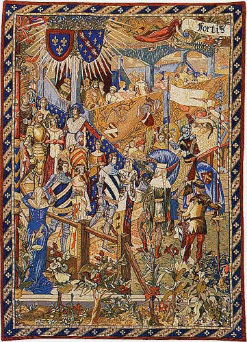 Before the Tournament left tapestry - jousting knights wallhanging