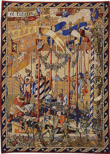 Before the Tournament right tapestry - jousting tournament wall-hanging