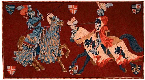 Jousting wall tapestry - French tapestry wall-hanging