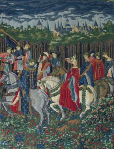 May tapestry, Nobles Riding - Les Tres Riches Heures