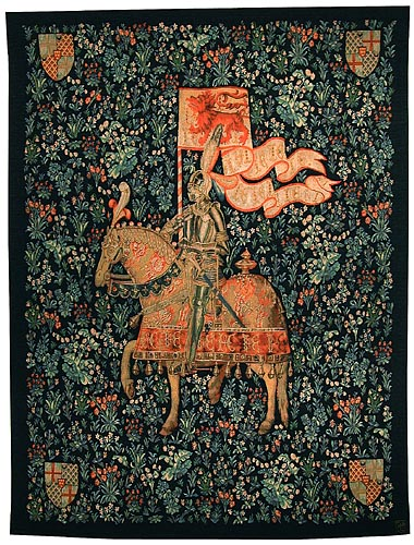 Montacute Knight tapestry - fine French wall-hanging
