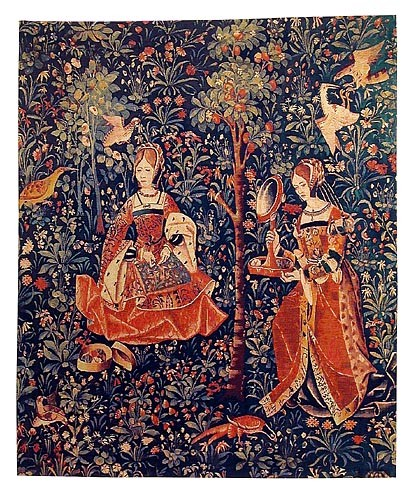 Embroidery tapestry - mille fleurs wall tapestry