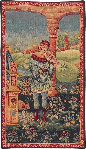 Troubadour at the Viol tapestry - medieval wall tapestries