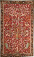 Trees and Birds tapestry - red mille fleur tapestries