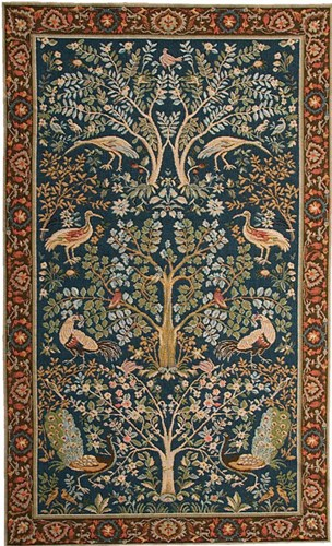 Trees and Birds tapestry - mille fleurs medieval tapestries