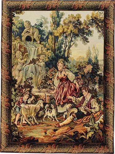 Fountain by the Lake vertical - Italian Rococo tapestries