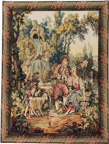 A Musical Interlude, vertical - Francois Boucher tapestry