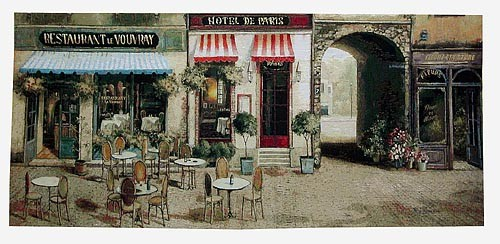 Hotel de Paris tapestry - French street cafe scene