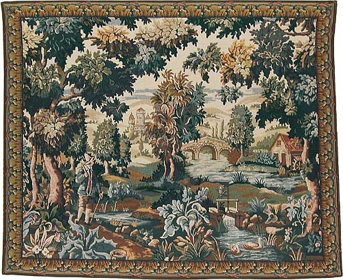 Flemish Mill tapestry - Belgian verdure tapestries