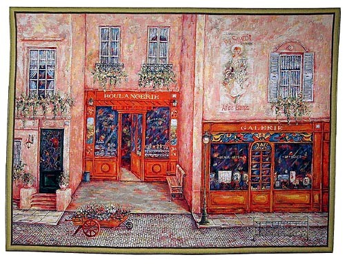 Sagot Terrace - French street scene tapestry