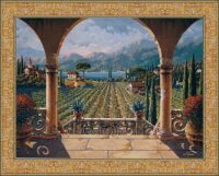Lakeside Vineyard tapestry - Belgian wall tapestries