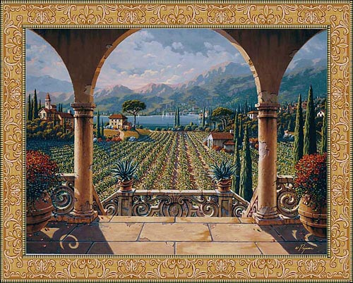 Lakeside Vineyard tapestry - Belgian wall tapestries by Bob Pejman