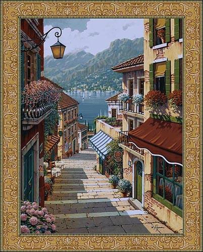 Bellagio Village tapestry - Bob Pejman Art wall tapestries